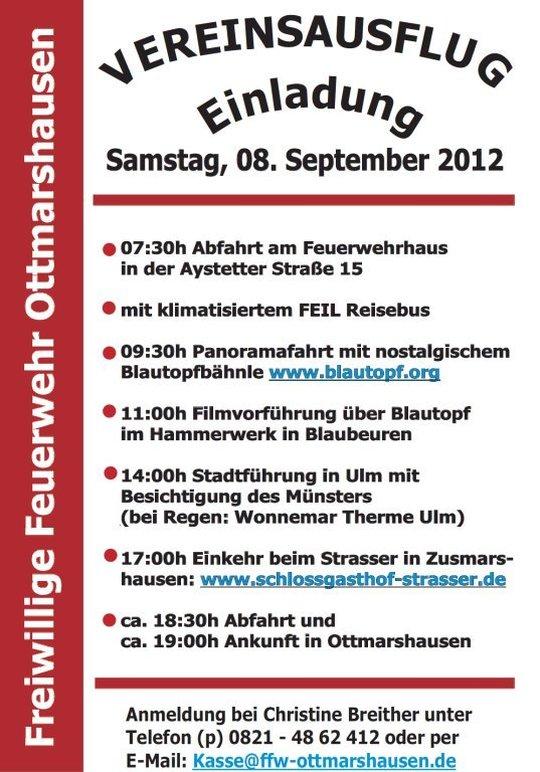 einladung zum vereinsausflug 2012 – freiwillige feuerwehr, Einladungen