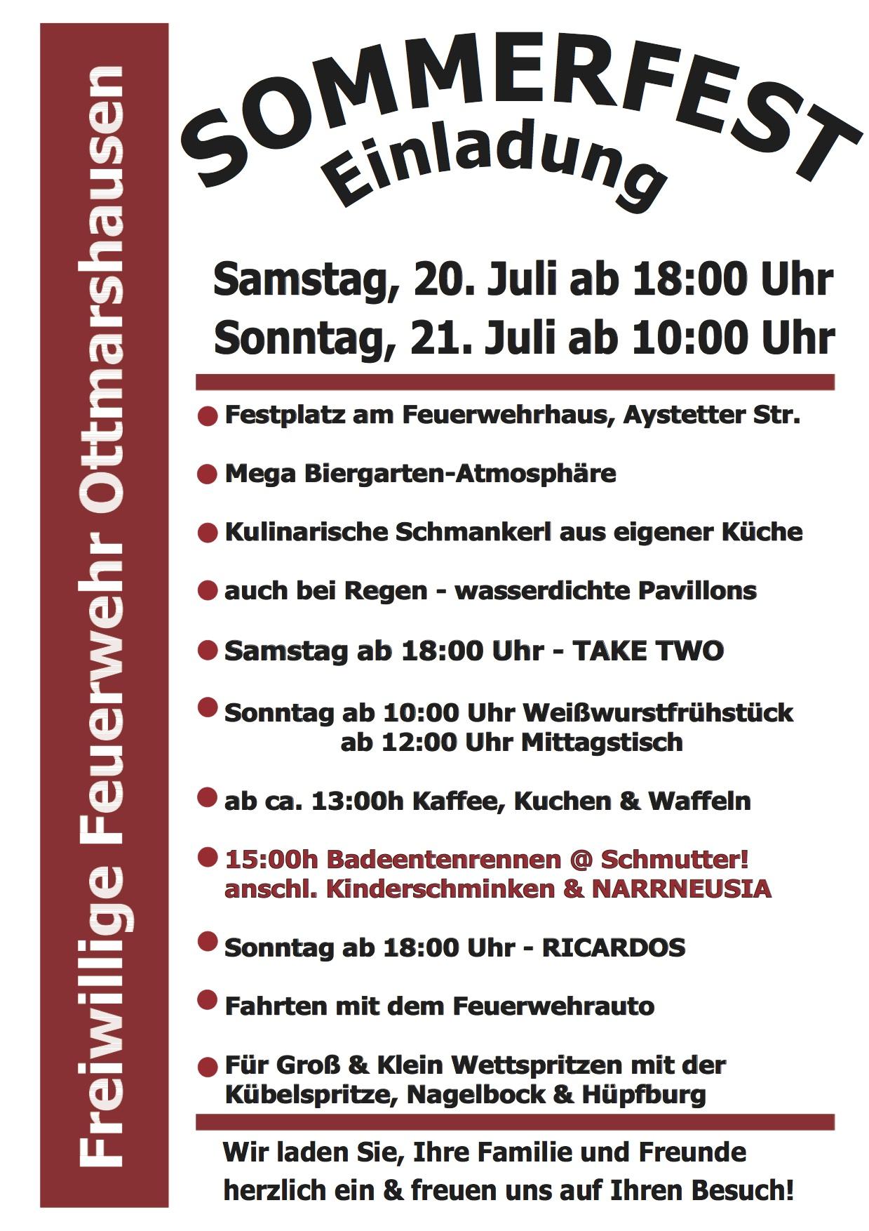 einladung zum sommerfest 2013 – freiwillige feuerwehr ottmarshausen, Einladung