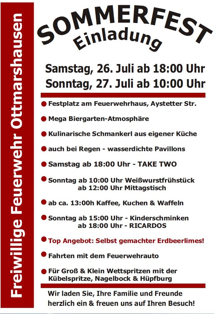 einladung zum sommerfest 2014 – freiwillige feuerwehr ottmarshausen, Einladung