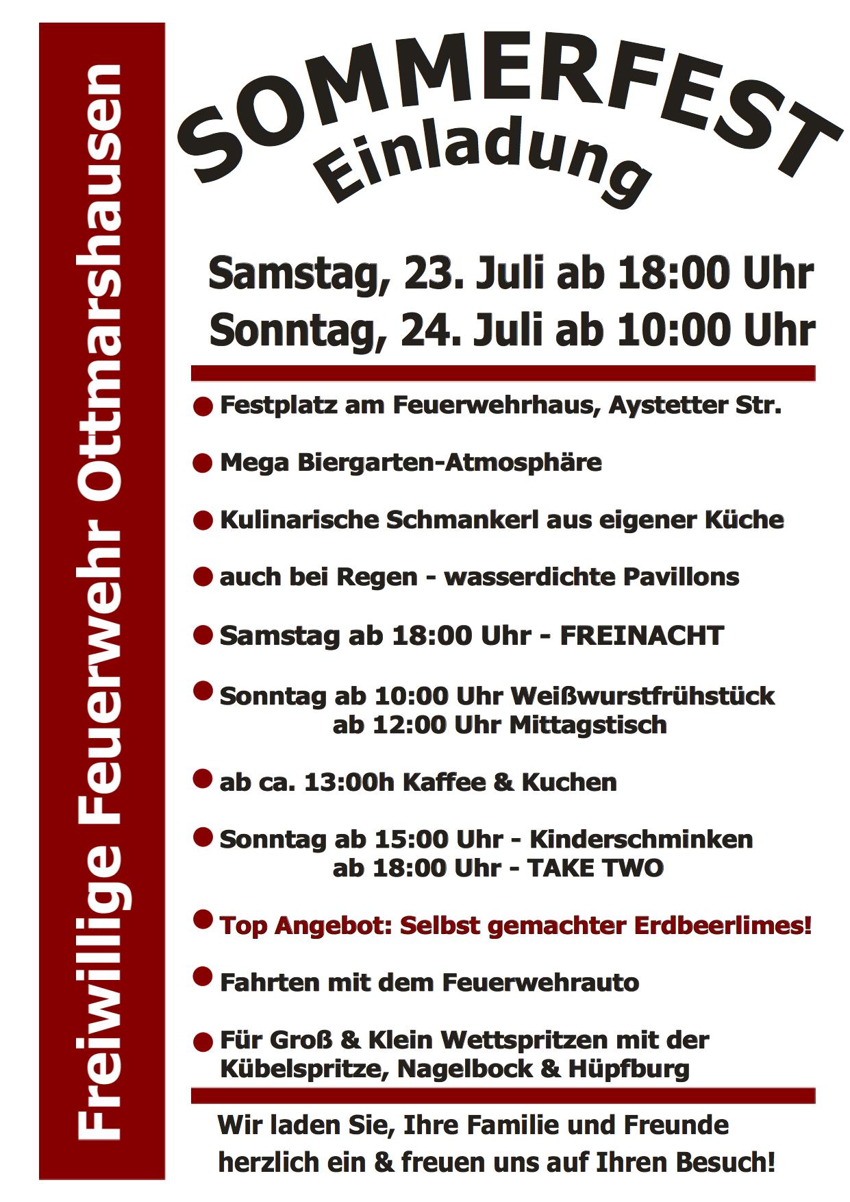 einladung zum sommerfest 2016 – freiwillige feuerwehr ottmarshausen, Einladung